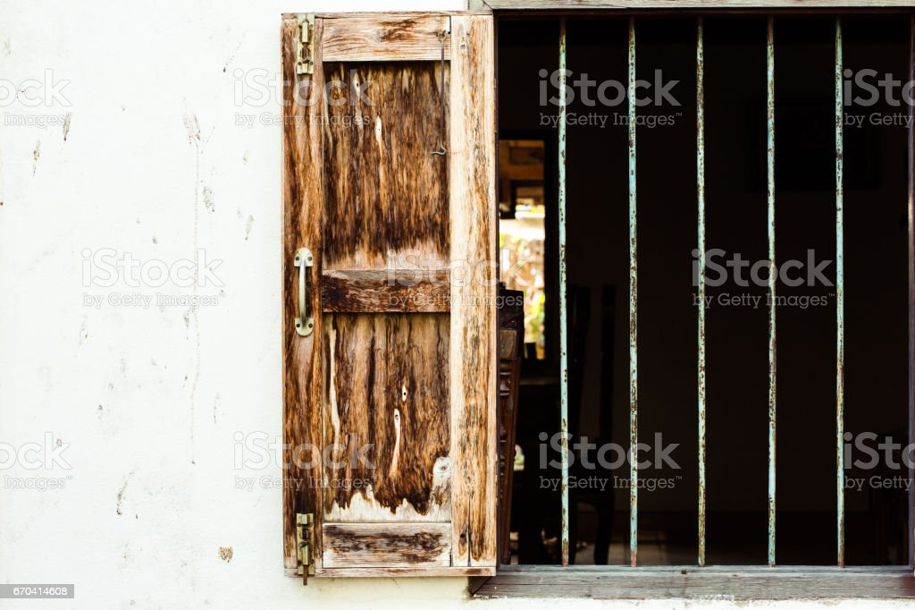 Antique Window And The Bars stock photo