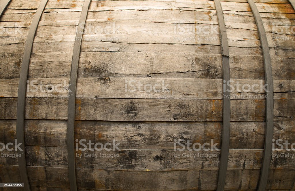 Antique Wine Cellar with Rusty Wooden Barrels stock photo