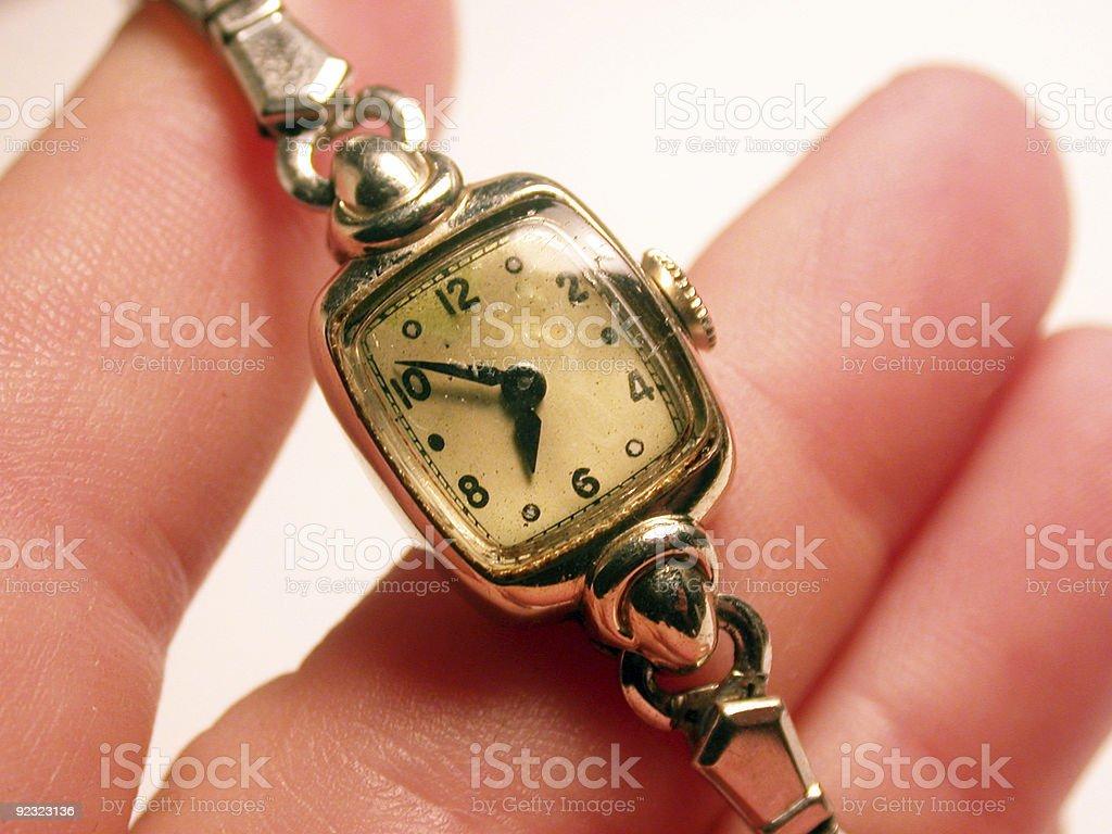 Antique women's wrist watch stock photo
