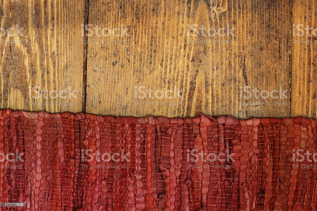 Antique wood and old capret stock photo