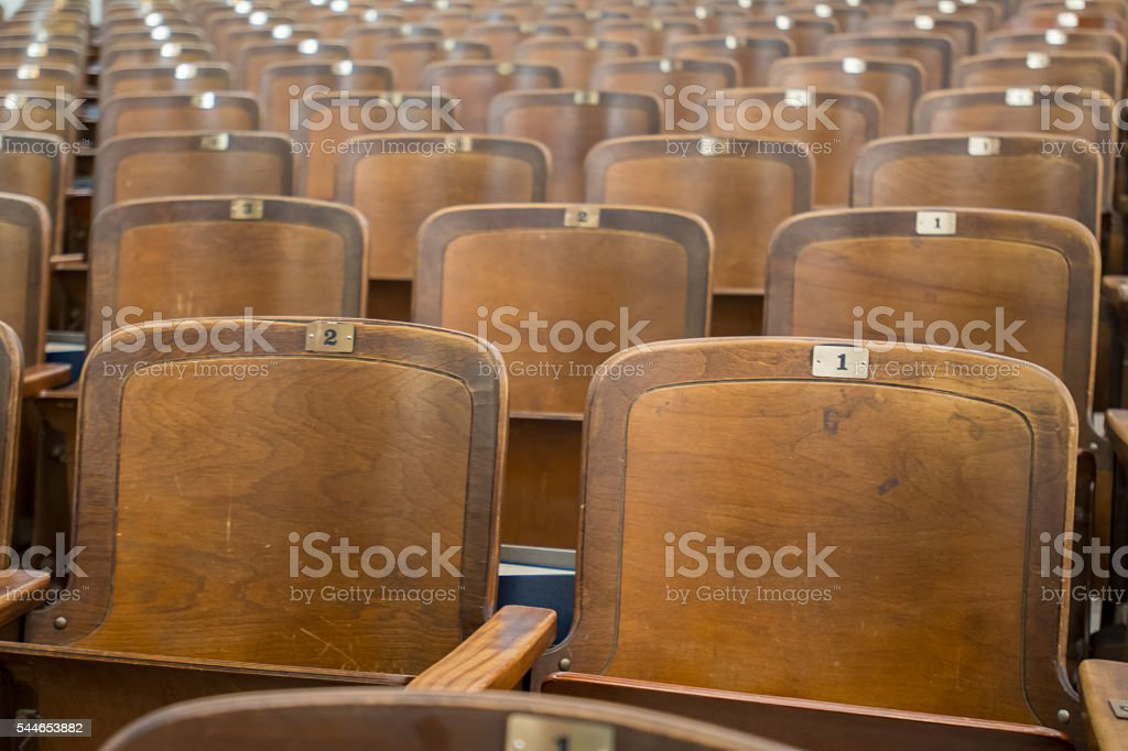Antique Wood Auditorium Seats Angle View stock photo