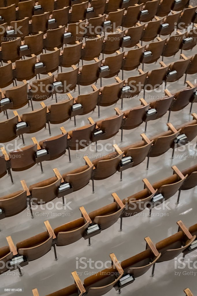 Antique Wood Auditorium Seats Angle View-2 stock photo