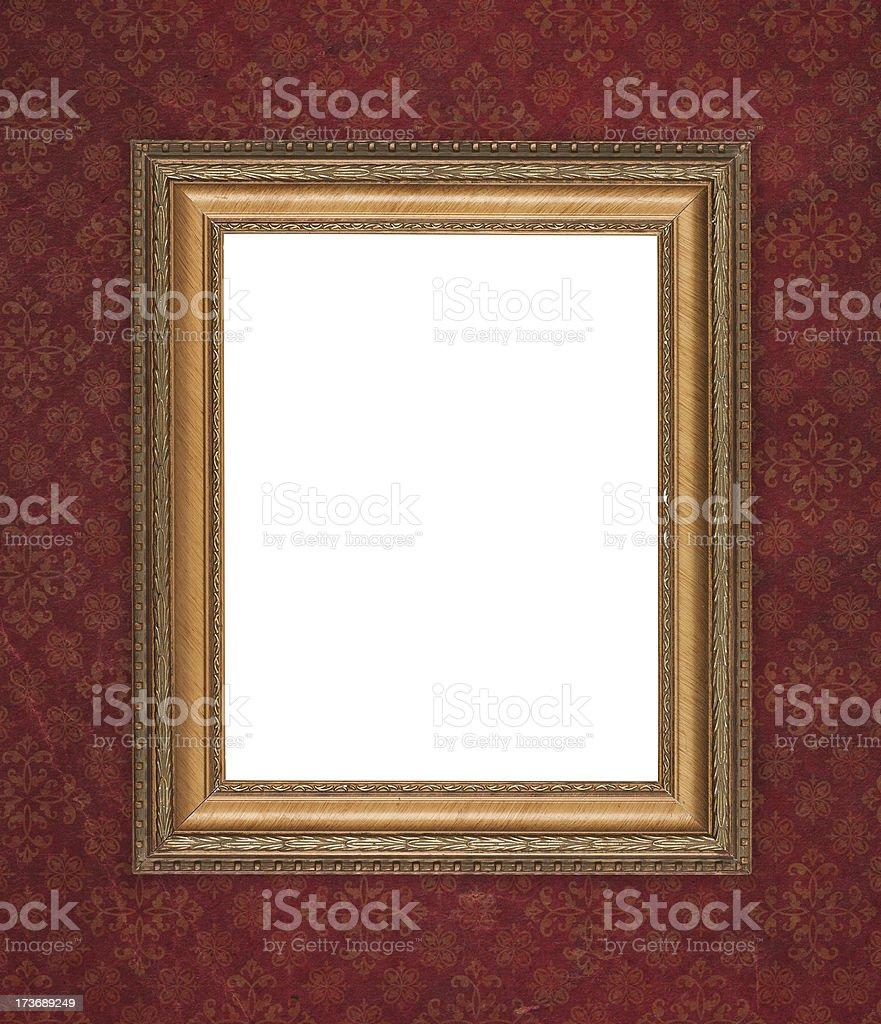 Antique wood frame on dark retro wallpaper stock photo