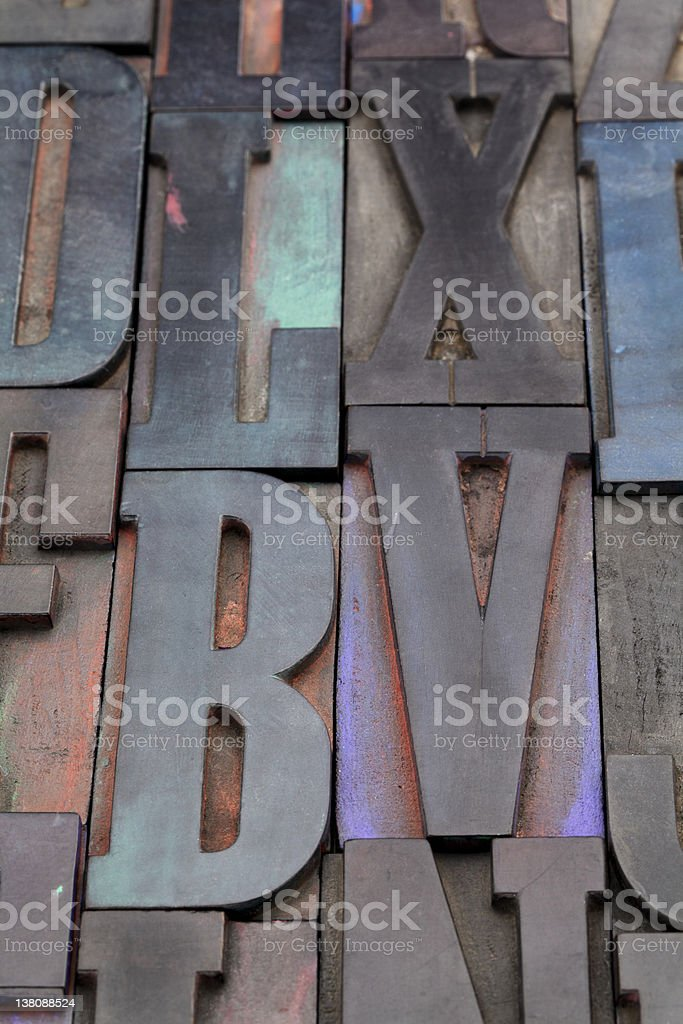 antique wood letterpress printing blocks royalty-free stock photo