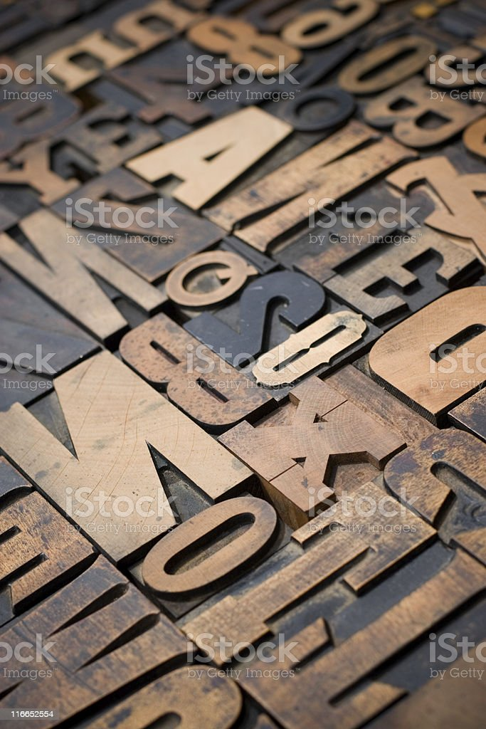Antique Wood Letters stock photo