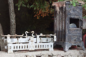 antique wood stove and Libra