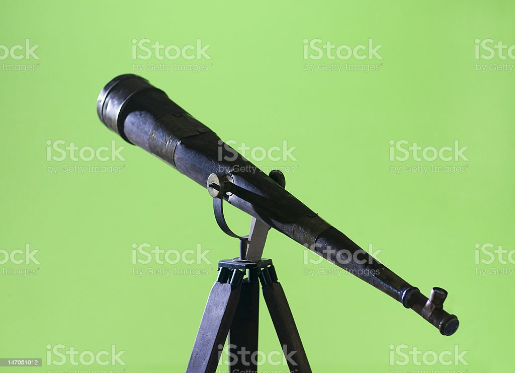 Antique Wood Telescope on a Tripod royalty-free stock photo