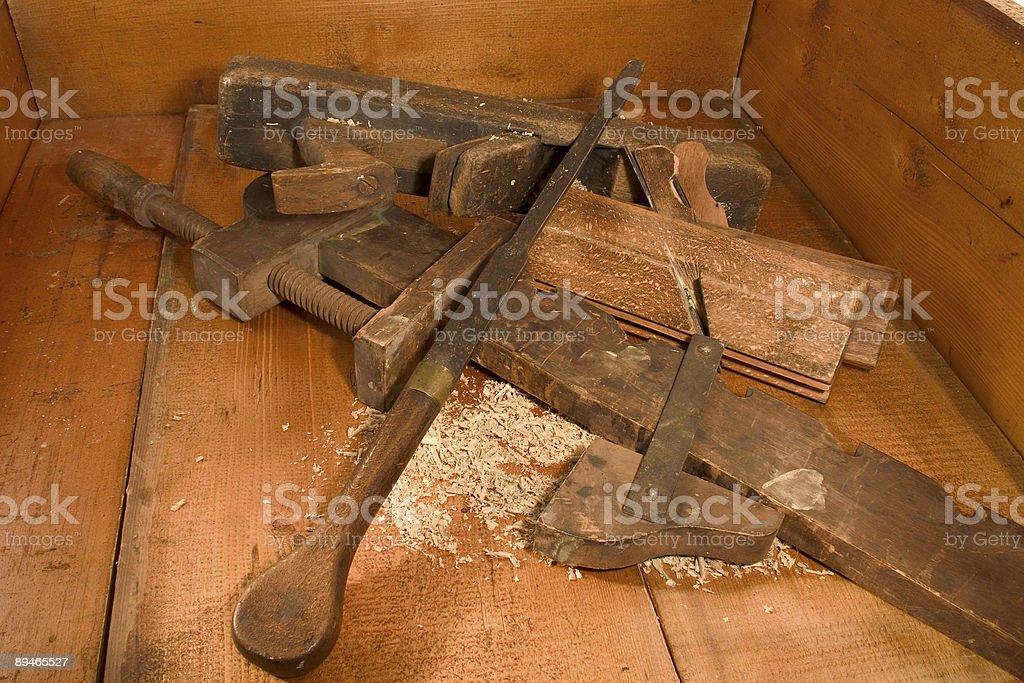 Antique wood tools stock photo