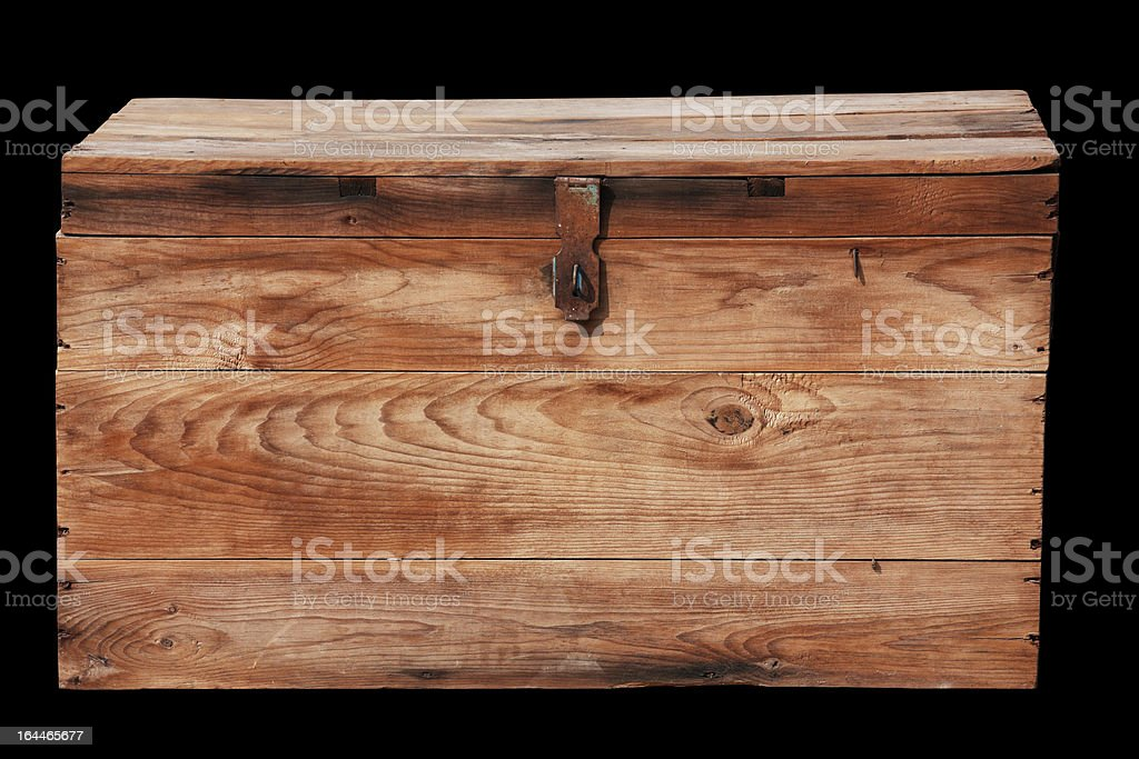 Antique wooden box with clipping path. stock photo