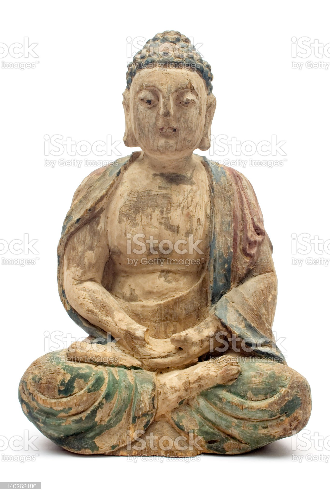 Antique Wooden Buddha royalty-free stock photo