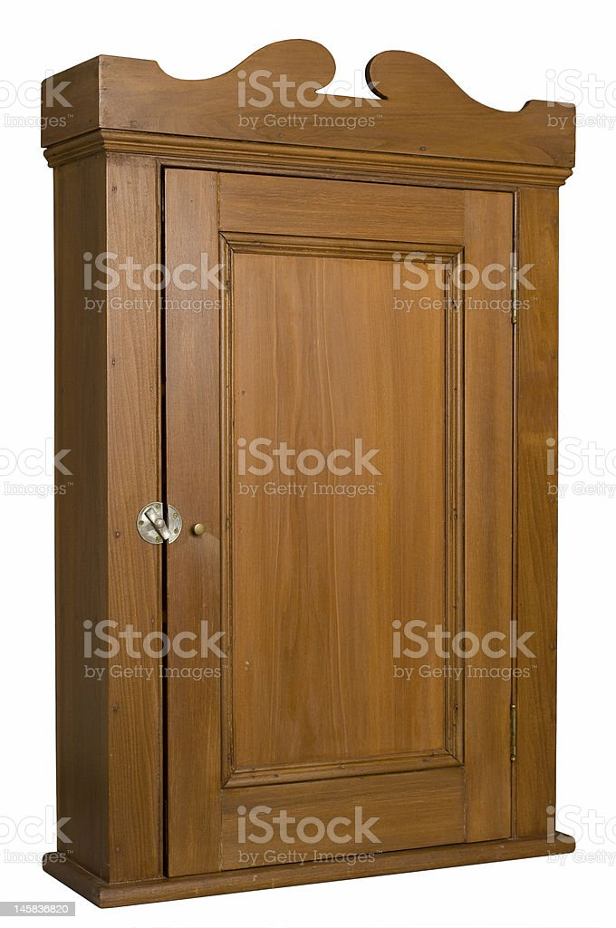 Antique Wooden Cabinet - 3/4 Right View royalty-free stock photo