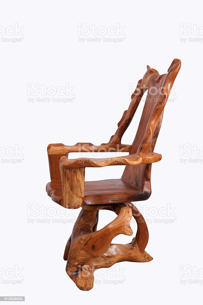 Antique wooden chair with  isolated on white background. stock photo