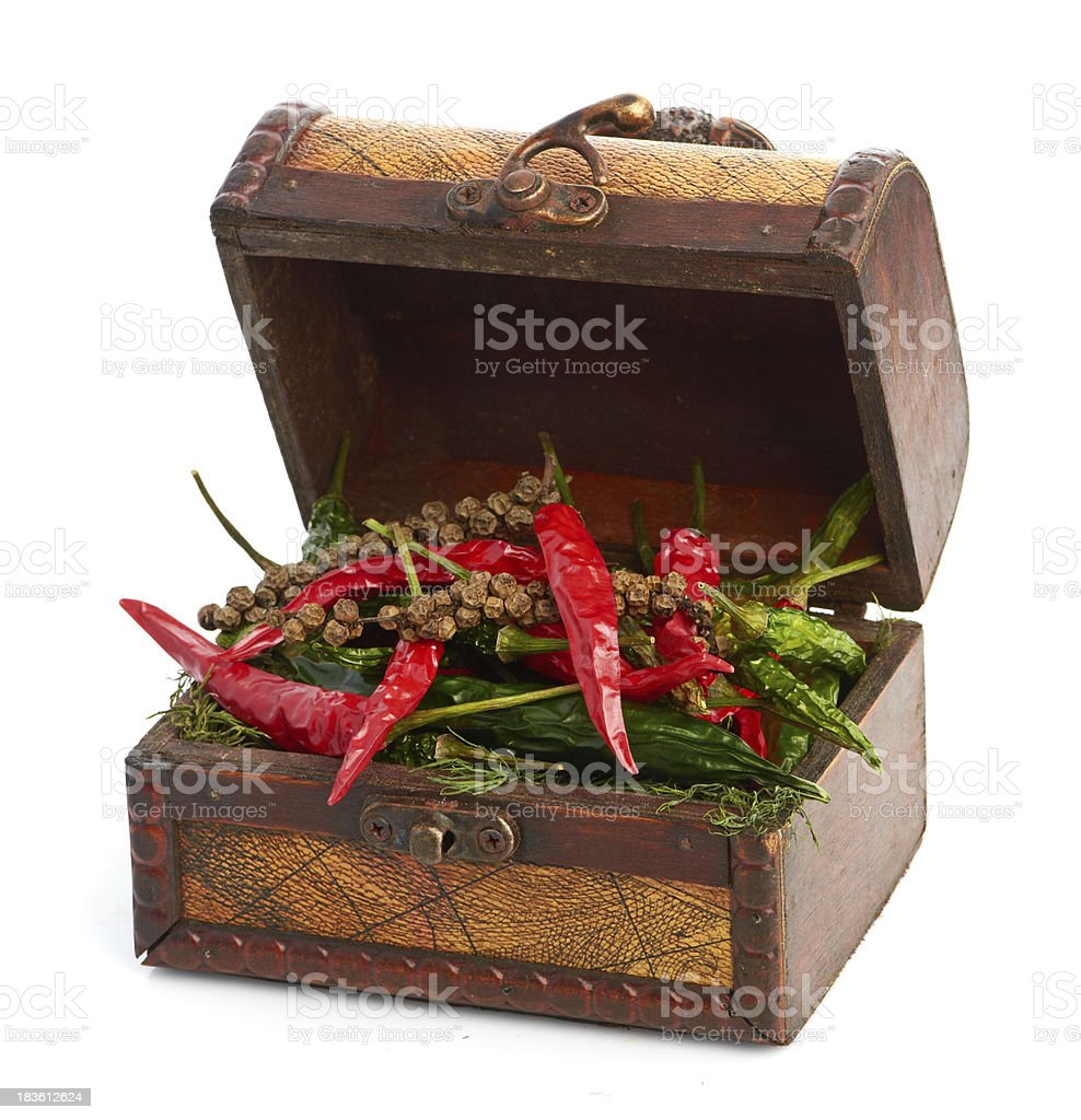 antique wooden chest and spices royalty-free stock photo