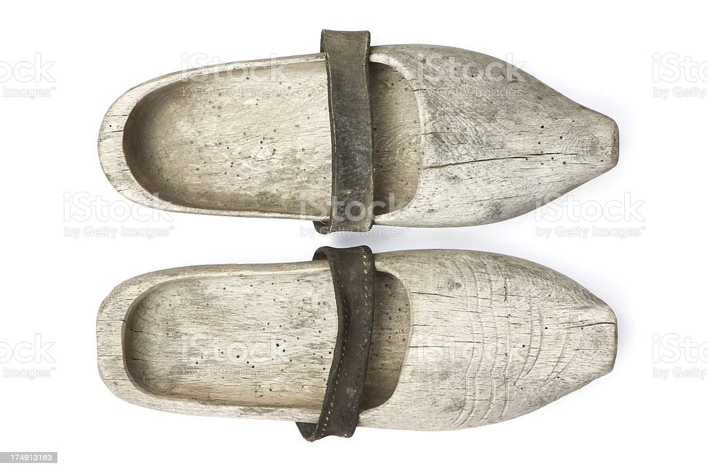 Antique Wooden Clogs stock photo