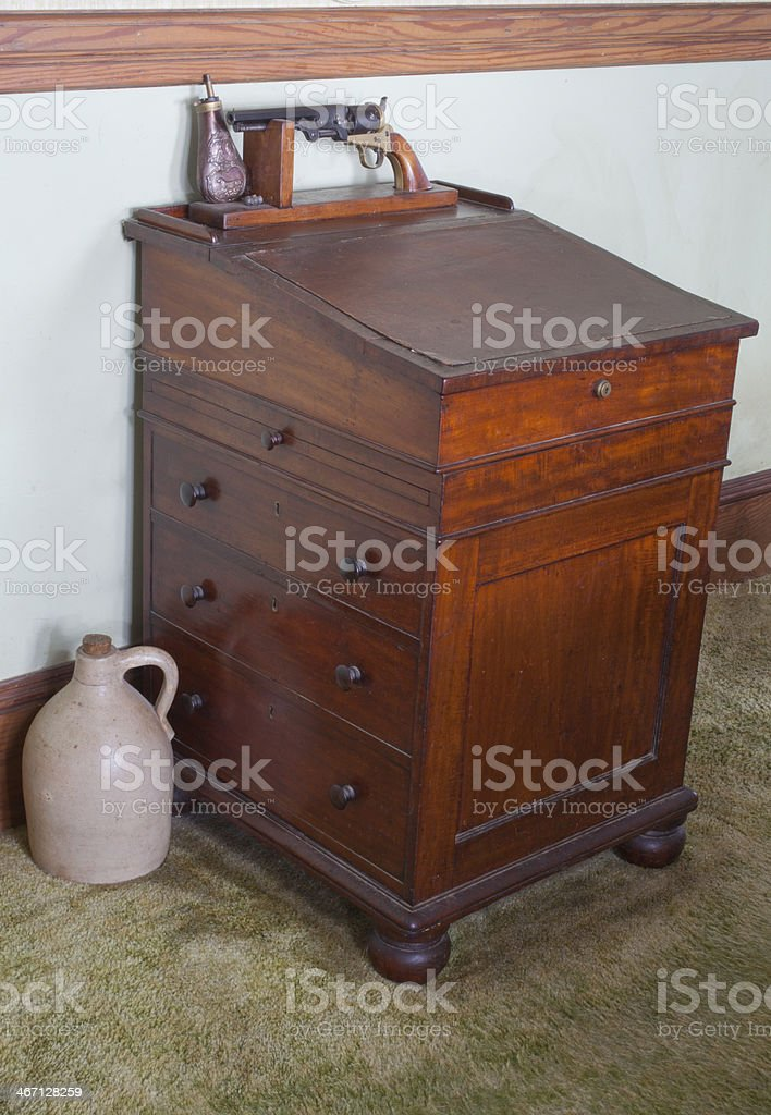 Antique Wooden Desk royalty-free stock photo