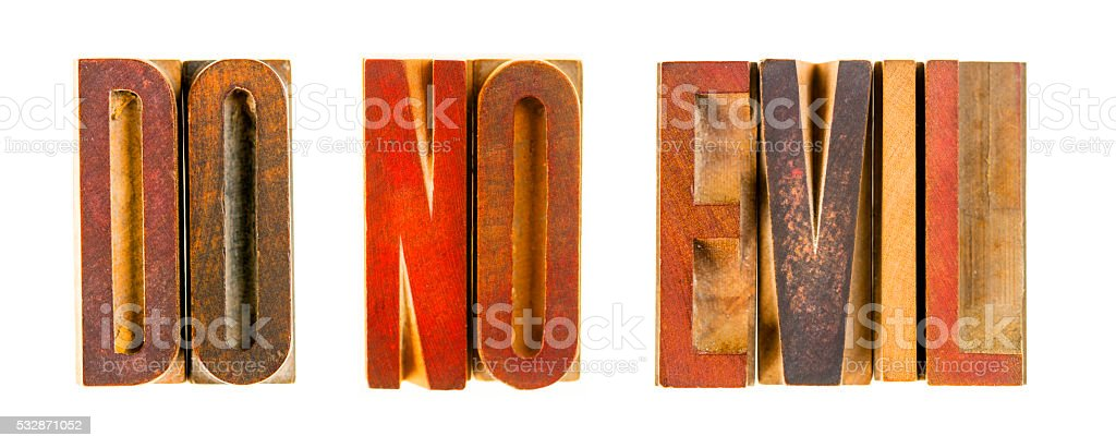 Antique Wooden Lettepress Blocks Spelling DO NO EVIL stock photo