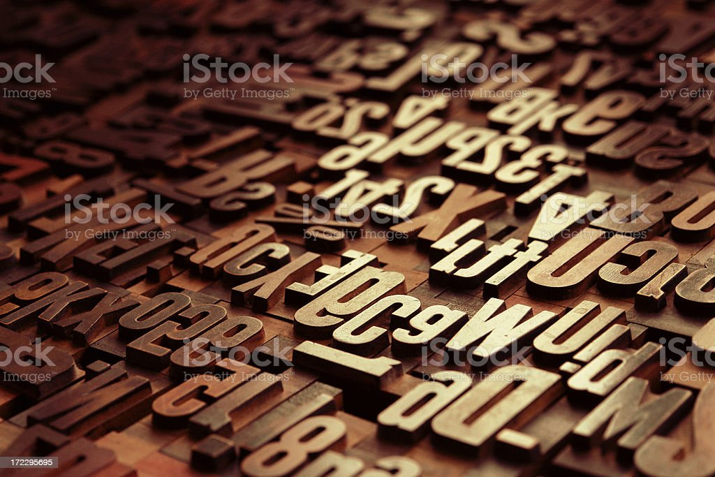 Antique wooden Letters royalty-free stock photo