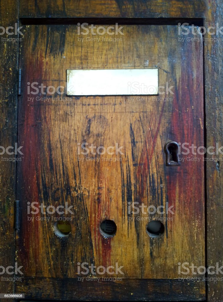 Antique wooden mail box stock photo