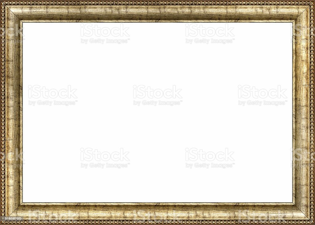 Antique wooden picture frame stock photo