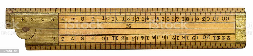 antique wooden ruler royalty-free stock photo