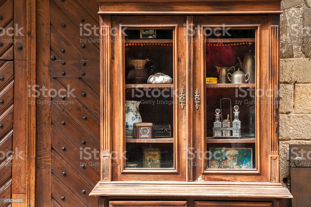 Antique wooden sideboard stock photo