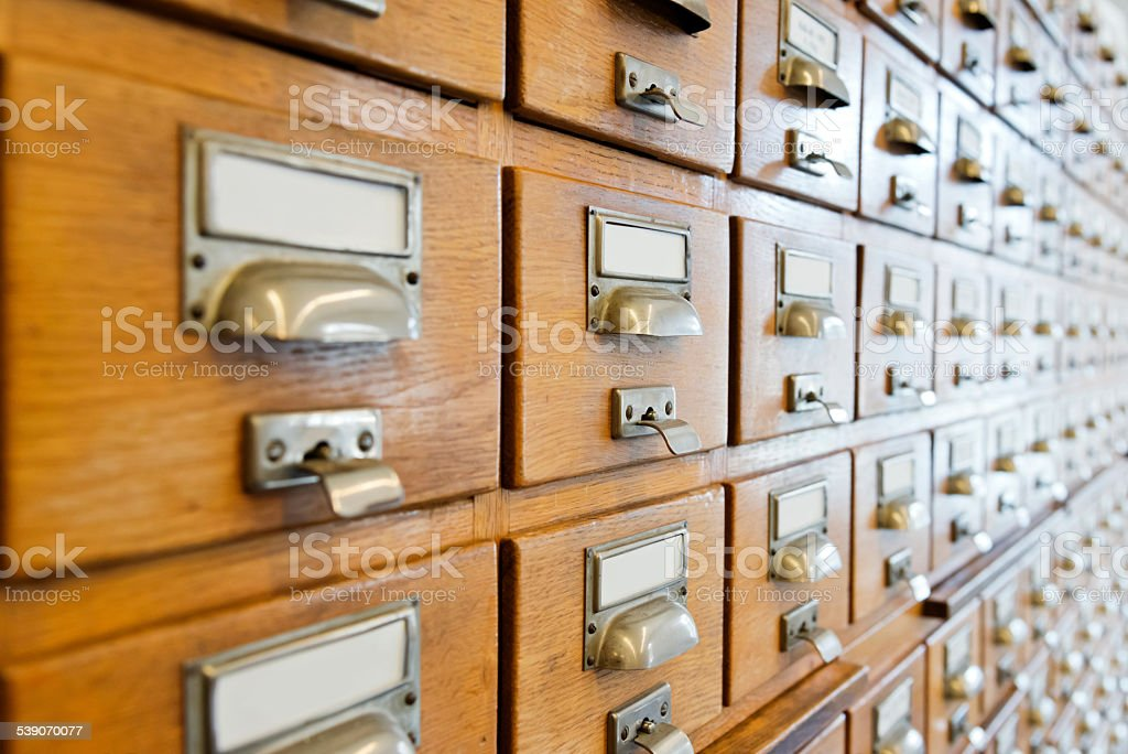 Antique wooden storage boxes in a Archive stock photo