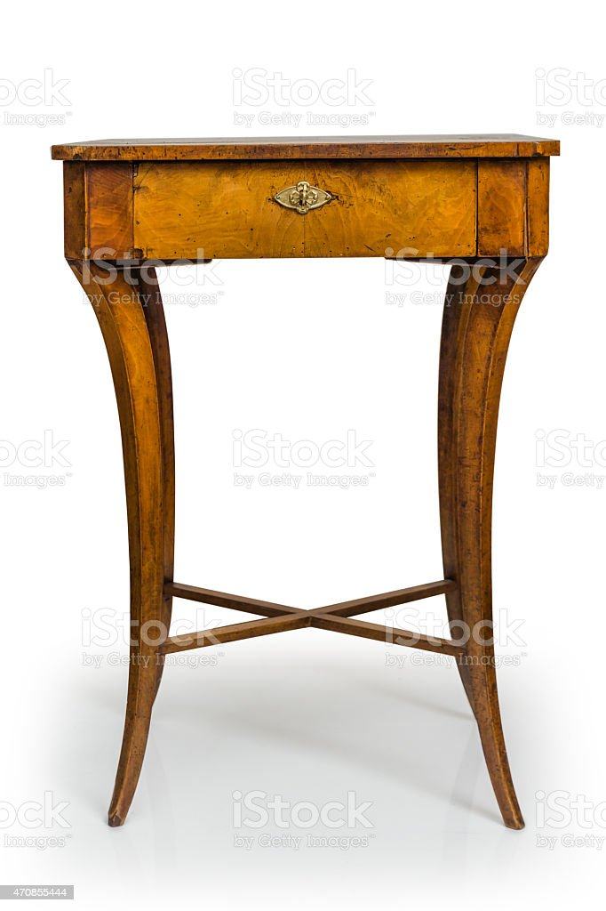 Antique Wooden Table Isolated on White Background stock photo