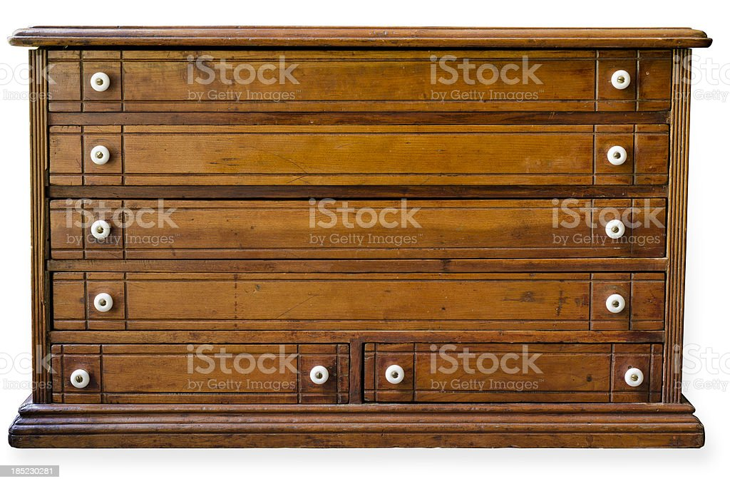 Antique Wooden Thread Cabinet with Clipping Path stock photo