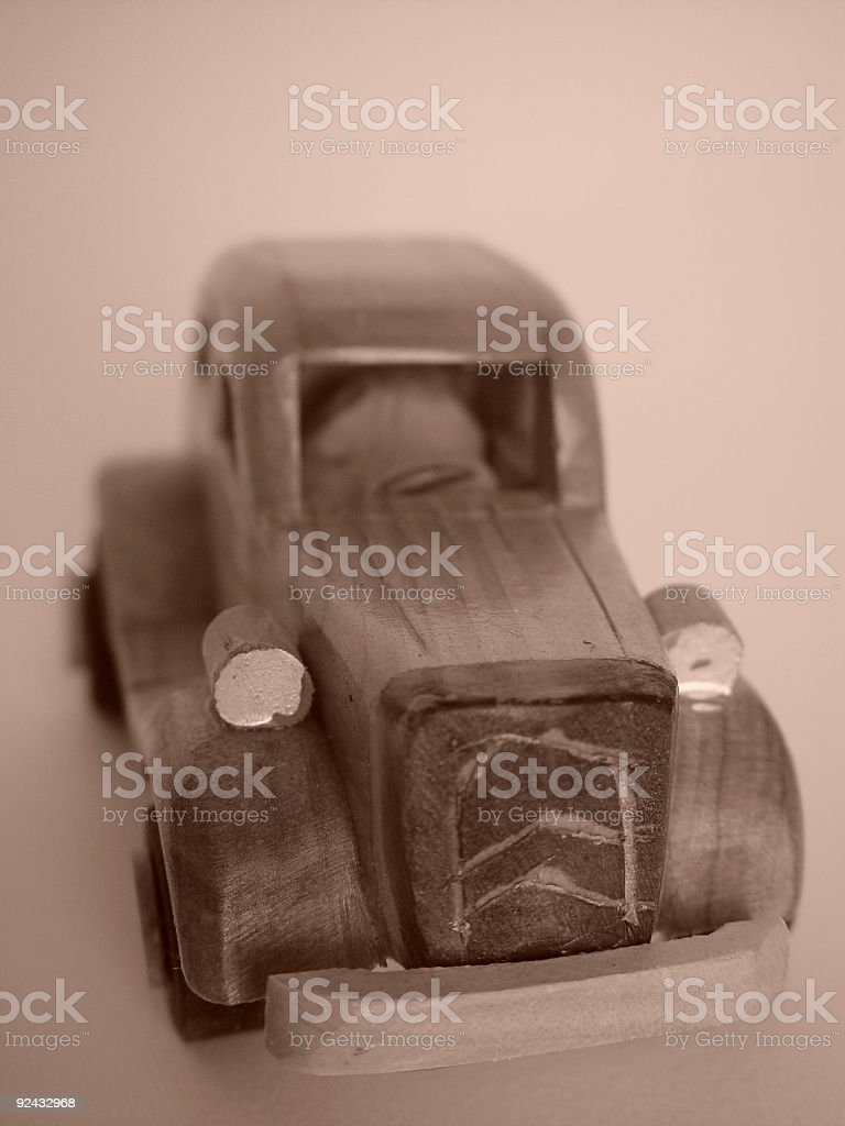 Antique wooden toy car royalty-free stock photo
