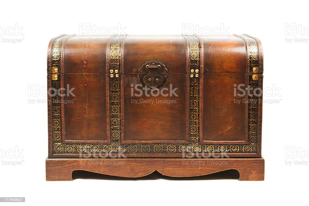 Antique wooden trunk royalty-free stock photo
