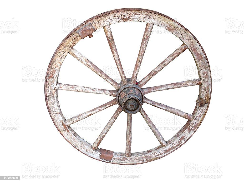 Antigo volante de madeira isolado no branco foto de stock royalty-free