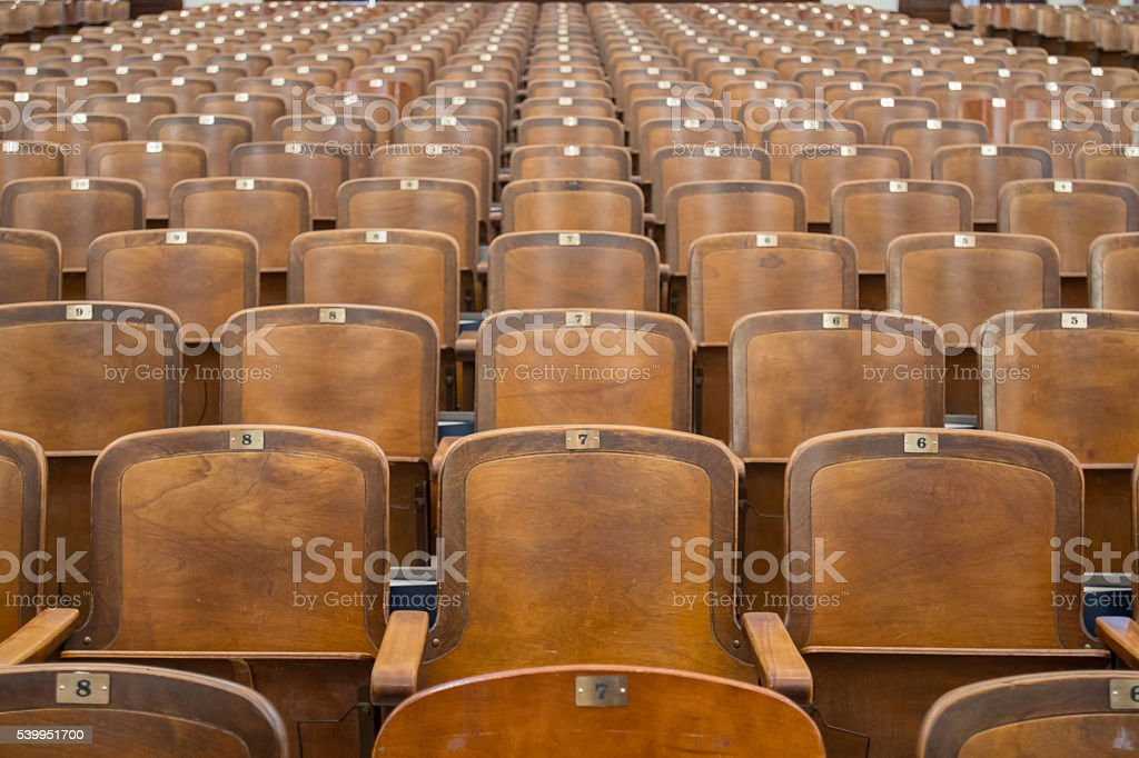 Antique Woodend Auditorium Seats Straight on stock photo