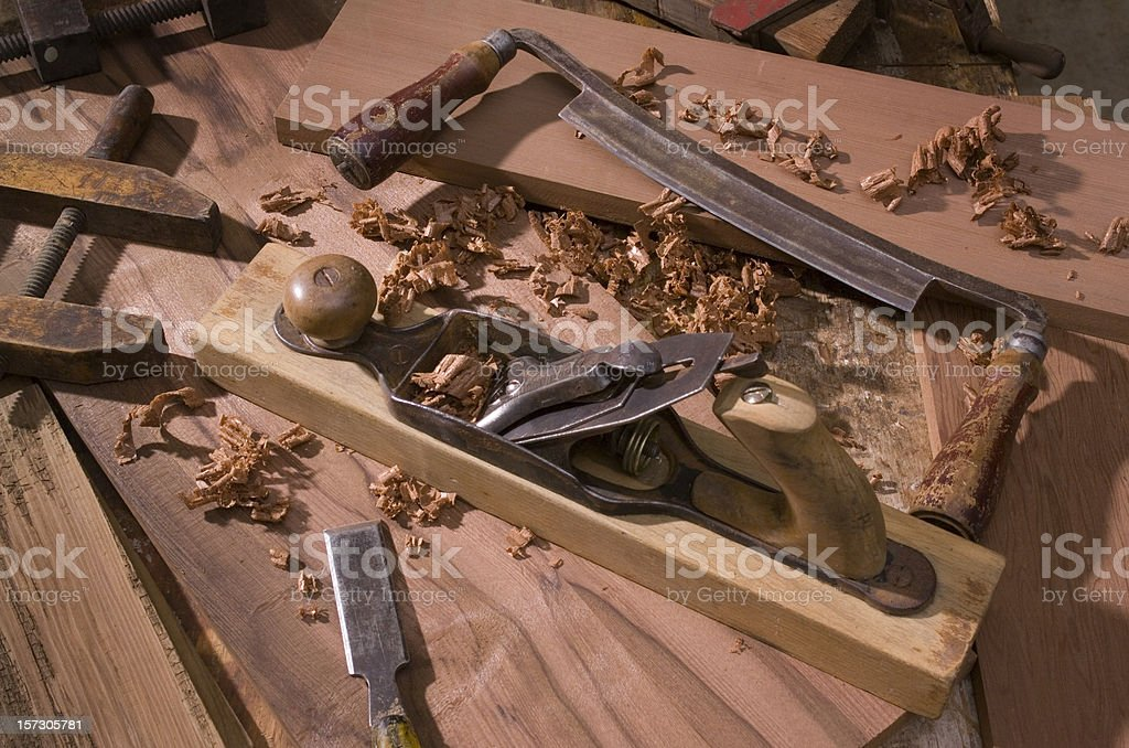 Antique woodworking stillife royalty-free stock photo