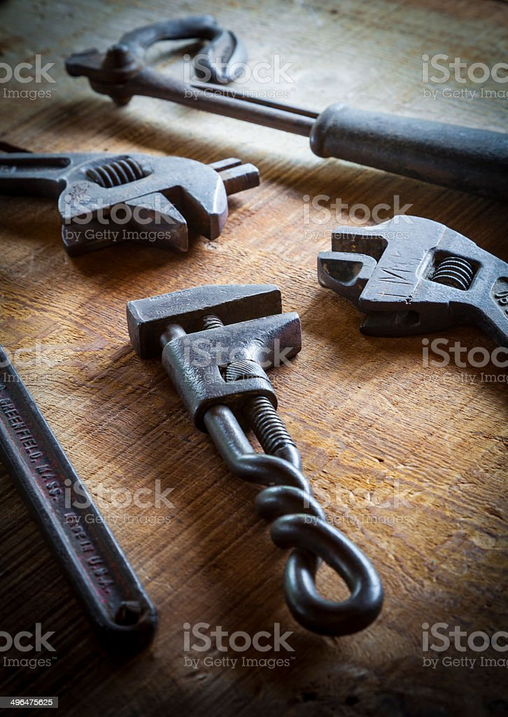 Antique Wrenches royalty-free stock photo