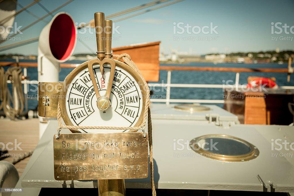 Antique Yacht Speed Control stock photo