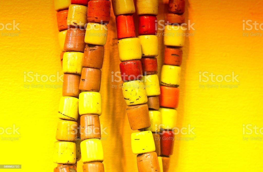 Antique Yellow and Orange Beads (Close-Up) stock photo