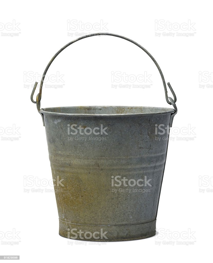 Antique Zinc Water Pail Bucket Isolated with Clipping Path royalty-free stock photo