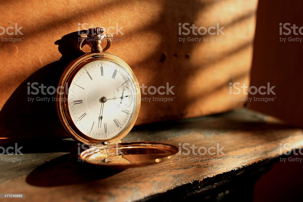 Antique-Gold Pocket Watch - Open Face stock photo
