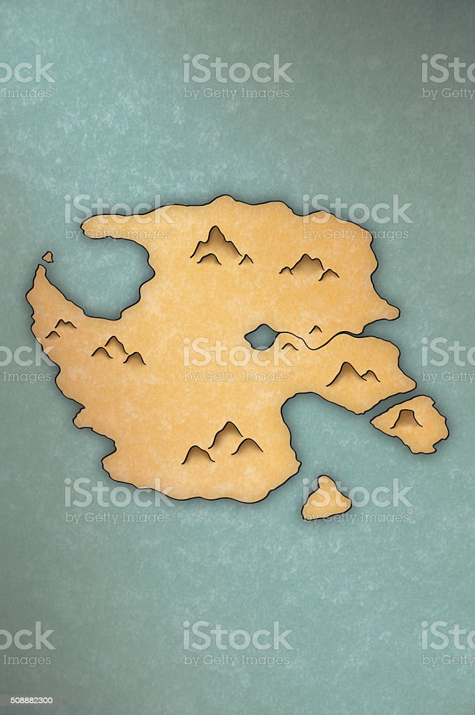 Antique-looking map of an island stock photo