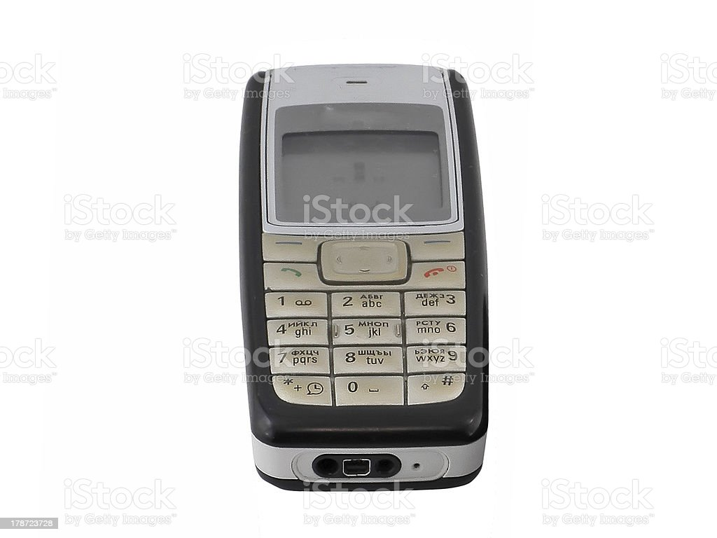 Antiques, old cellular(mobile) phone. Isolated stock photo