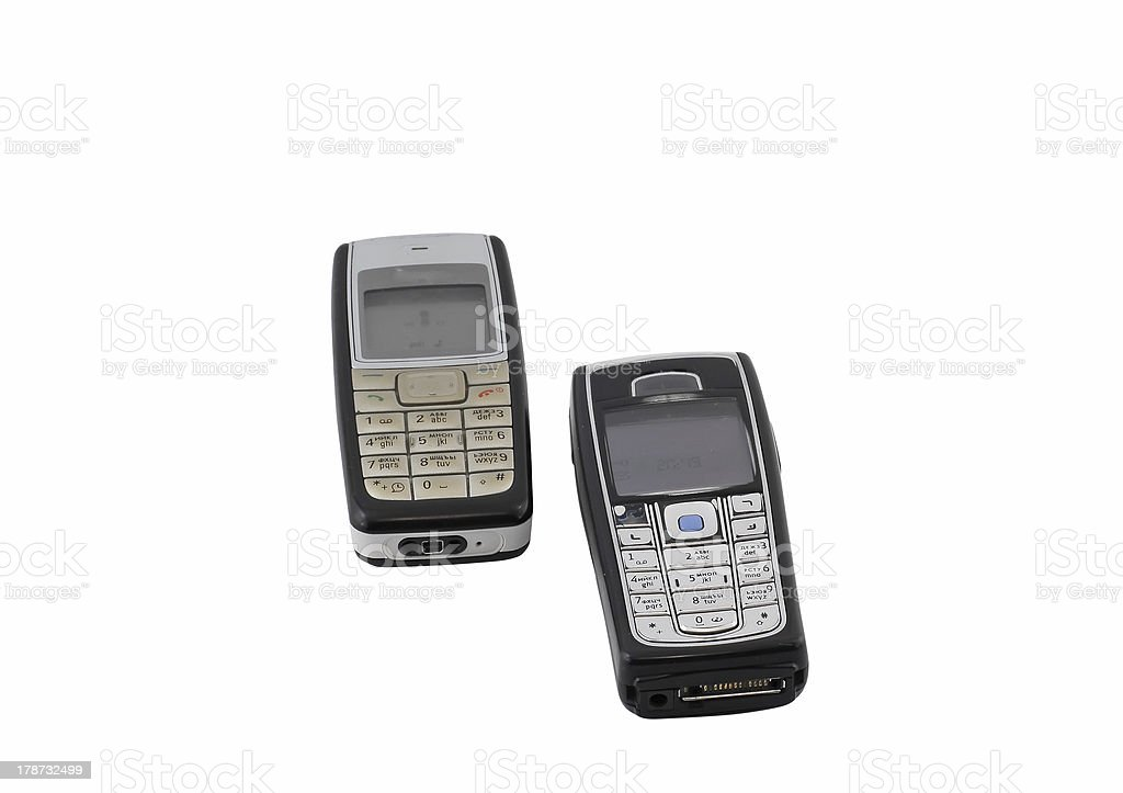 Antiques, old cellular(mobile) phones. Isolated stock photo
