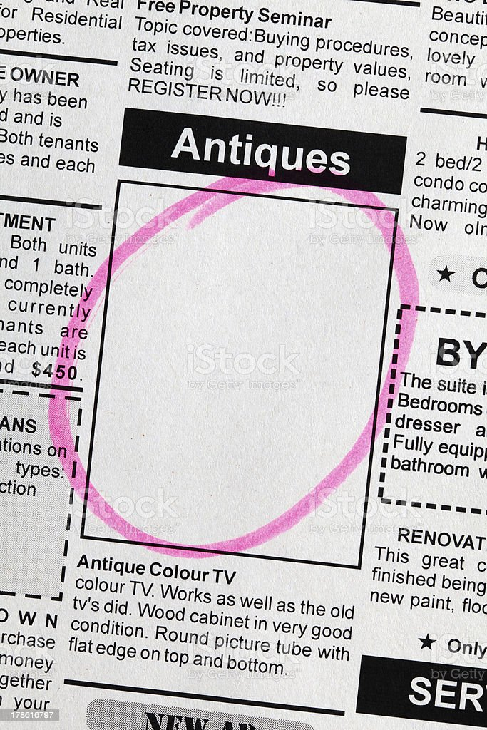 Antiques Sale ad royalty-free stock photo