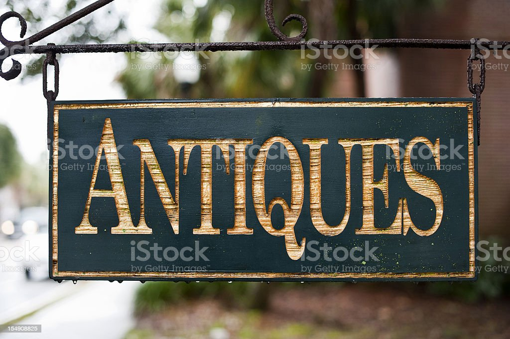 Antiques Sign stock photo