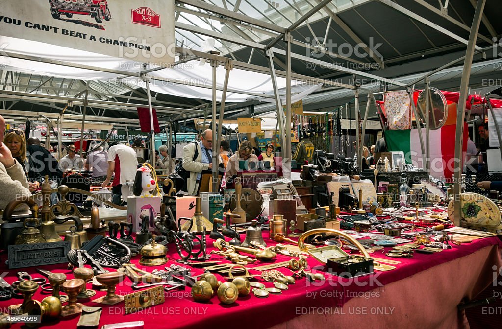 Antiques stall in a market stock photo