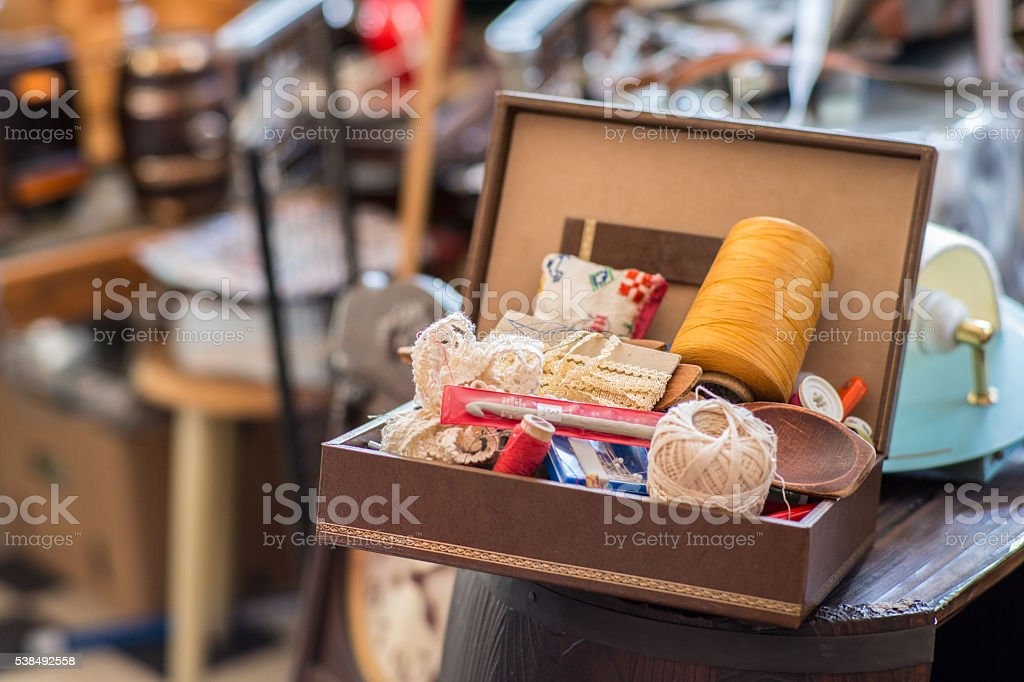Antiques_Sewingkit stock photo