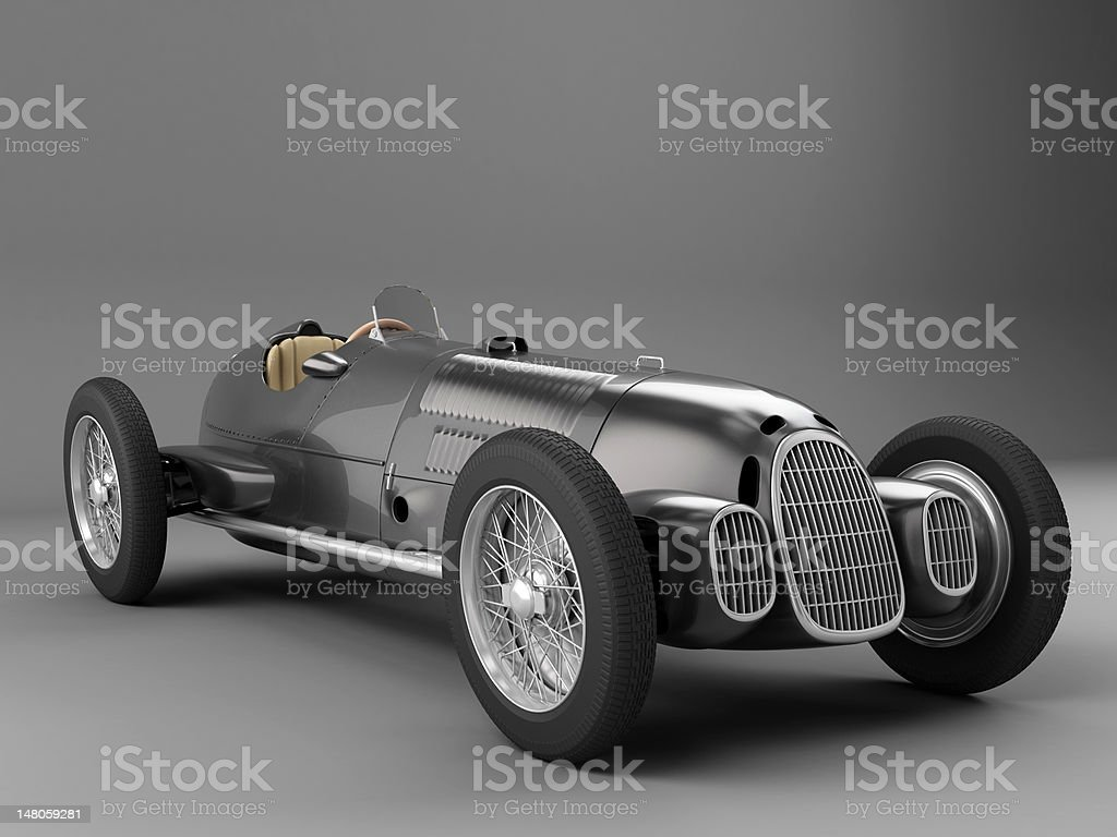 Antiqur Black Racing Car stock photo