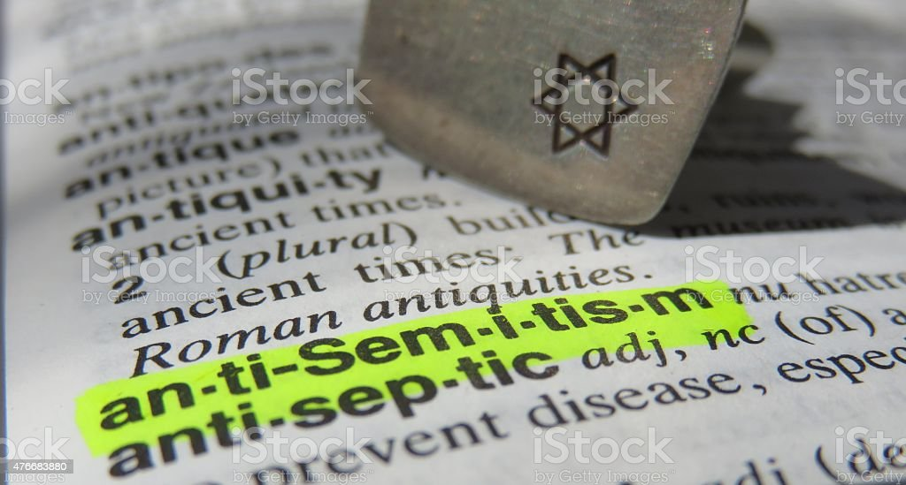 Anti-Semitism dictionary definition stock photo