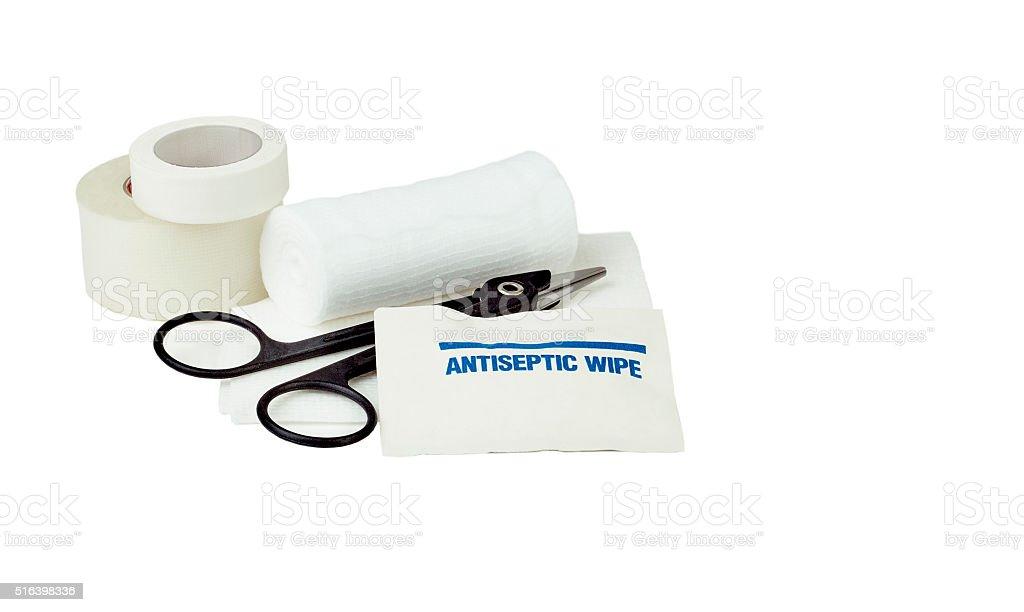 Antiseptic Wipe with Gauze Bandages stock photo