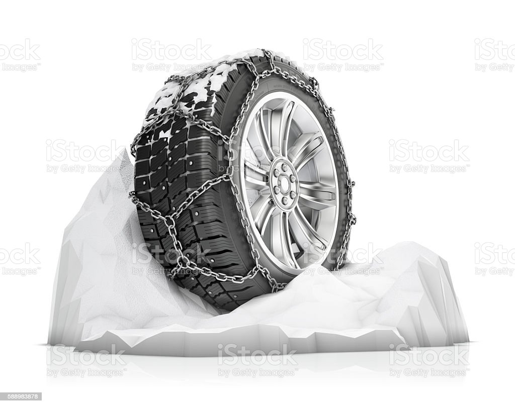 anti-skid elements for winter driving stock photo