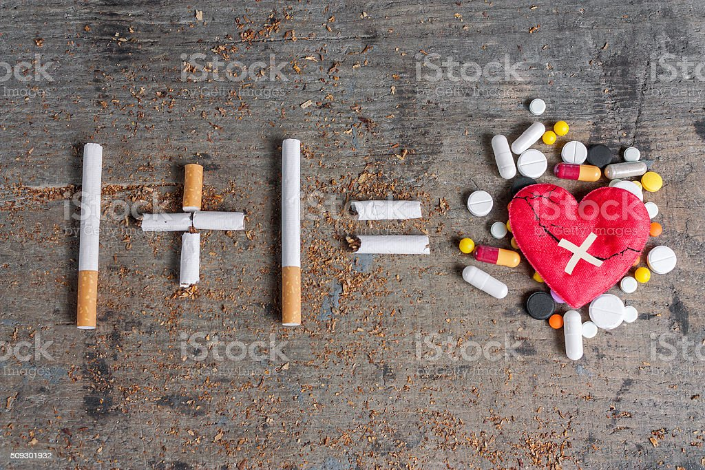 Antismoking background. Diseased heart and pills stock photo